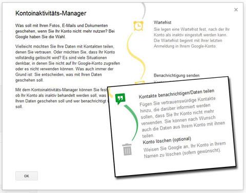 Google Einstellungenscreenshot