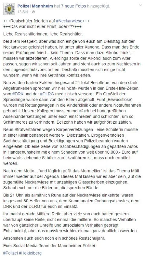 Statement Polizei